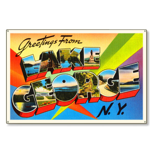 Lake George New York NY Large Letter Postcard Metal Sign Wall Decor STEEL 36x24