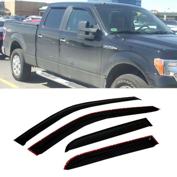 4pcs Vent Shade Window Visors Rain Guards For Ford F150 Crew Cab 2009-2014