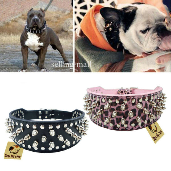 Leather Collar Sharp Spiked Studded PU for Large Dog Pet Pitbull Mastiff Durable $12.99