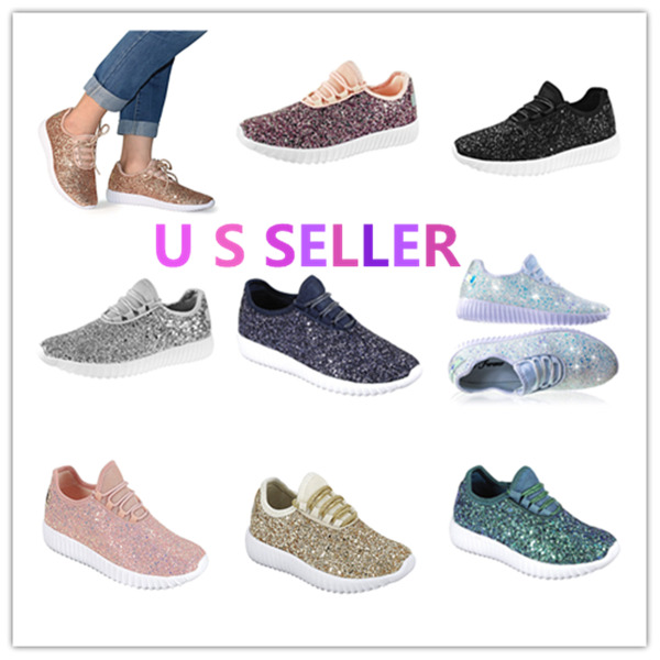 Link Remy18 Womens kids Toddler Jogger Sneaker-Lightweight Glitter Lace Up Shoes
