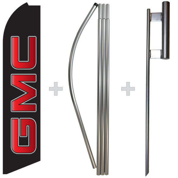 GMC 15#x27; Tall Swooper Flag amp; Pole Kit Feather Super Banner