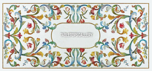 8'x4' Marble Italian Marquetry Dining Inlaid Table Top Living Home Decor H3943