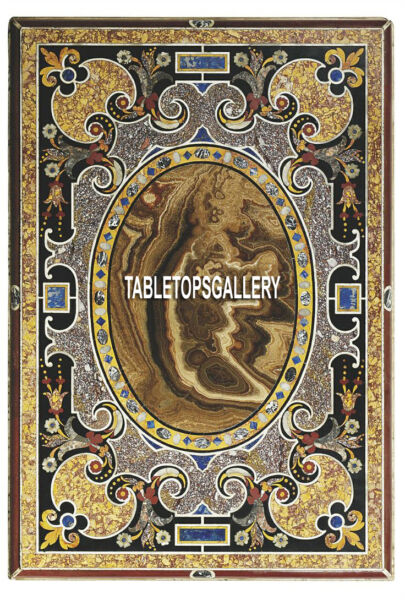 8'x5' Black Marble Dining Table Scagliola Top Collectible Inlay Furniture H3848