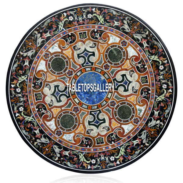 60'' Marble Top Rare Dining Table Scagliola Mosaic Inlay Living Home Decor H3939