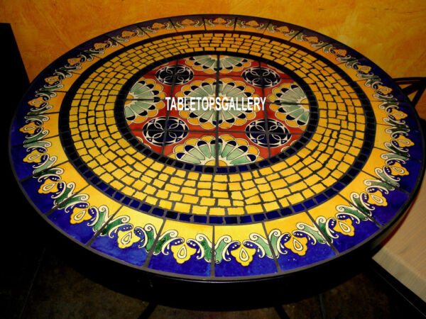60'' Semi Traditional Arts Marble Dining Table Top Inlay Mosaic Gifts DecorH3953