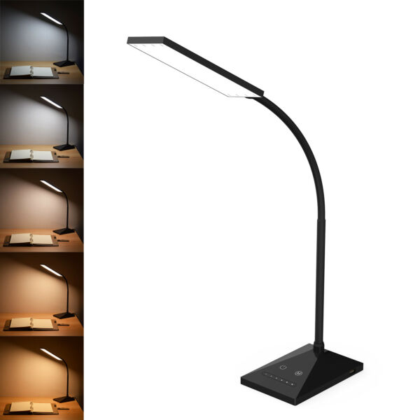 12W LED Desk Lamp Flexible Touch Sensor 5 Mode Reading Lamp Night Light USB Port