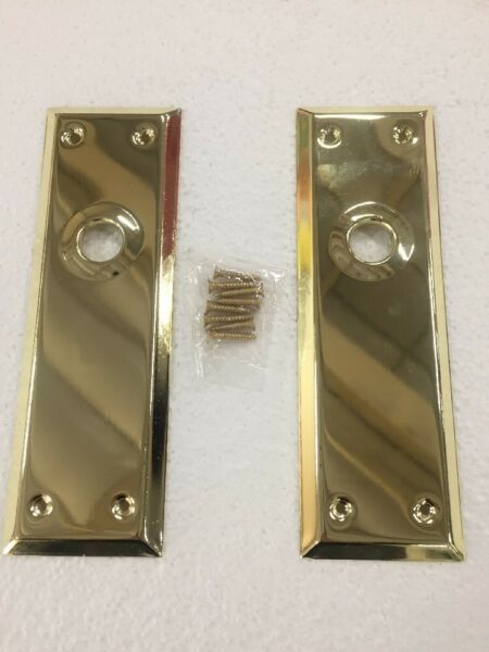 (Set of 2) Door Back Plate Bright Solid Brass Colonial Keyhole