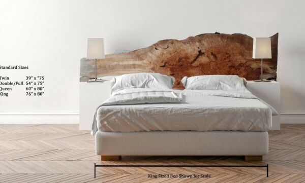 Figured Live Edge Headboard Natural Big Leaf Maple Raw Wood Slab Custom 5355a9