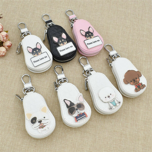 Lovely Dog Covers Zipper Car Key Pouch Case Bag Casual Key Holder Leather 1pc $4.60