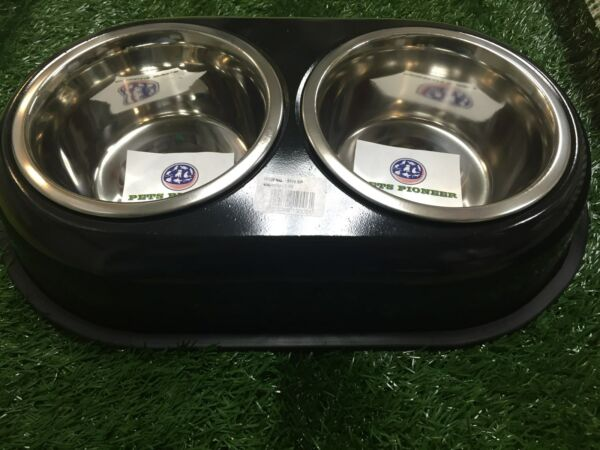 Double Stainless Steel bowls 1 QT 32 oz 4 cups BLACK pet dog dishes bowlsplates $24.95