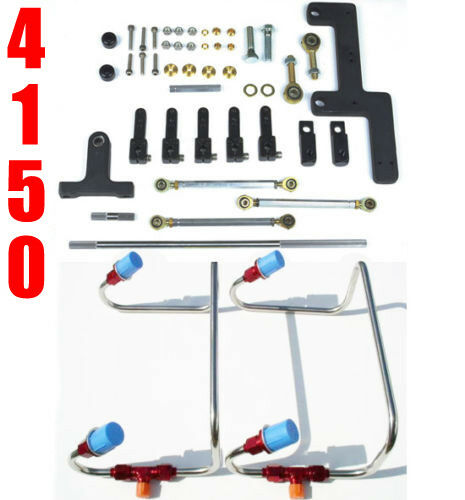 DUAL INLET 4150 MECH BLOWER FUEL LINES RED COLOR KIT HOLLEY LINKAGE COMBO $329.99