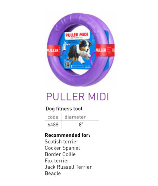 PULLER MIDI Active DOG TOY Set of TWO Purple RINGS for Training 8