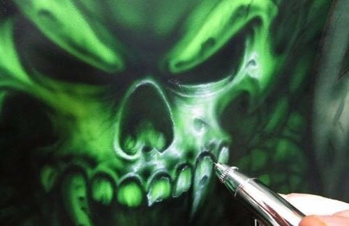 NEW DEMON SKULL LASER CUT MYLAR STENCIL DETAILED TEMPLATE AIRBRUSHING