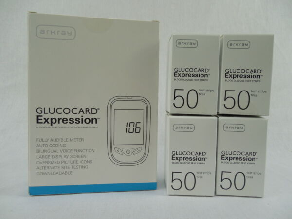 Arkray Glucocard Expression Diabetic test strips 200ct w Meter NEW Free Ship