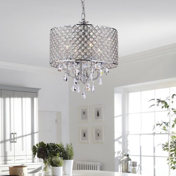 NEW Drum Chandelier Crystal Ceiling Fixtures 4 Lights For Bedroom Living Room OY