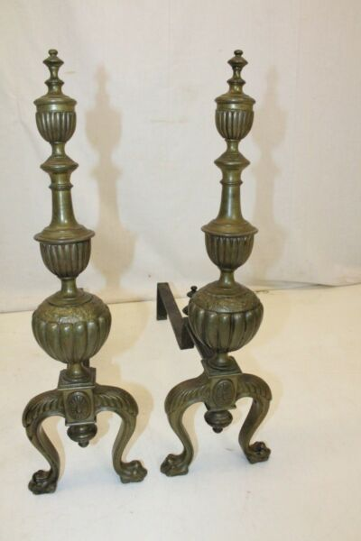 Beautiful Pair of English Regency Style Bronze Andirons Fireplace 19th Century