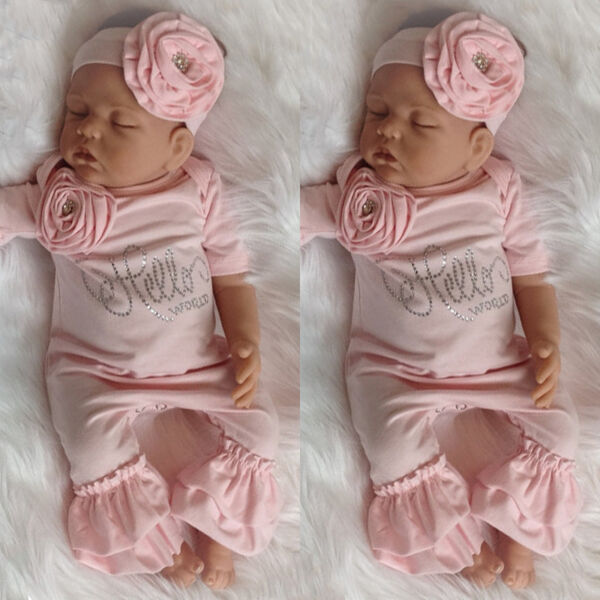 Newborn Baby Girl 3D Flower Romper Bodysuit Jumpsuit Headband Outfit Clothes USA
