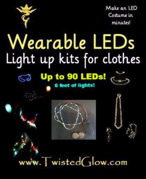 LED Kit for Clothes - Rechargeable, 4-mode DIY LED kit, Make an LED Costume in m