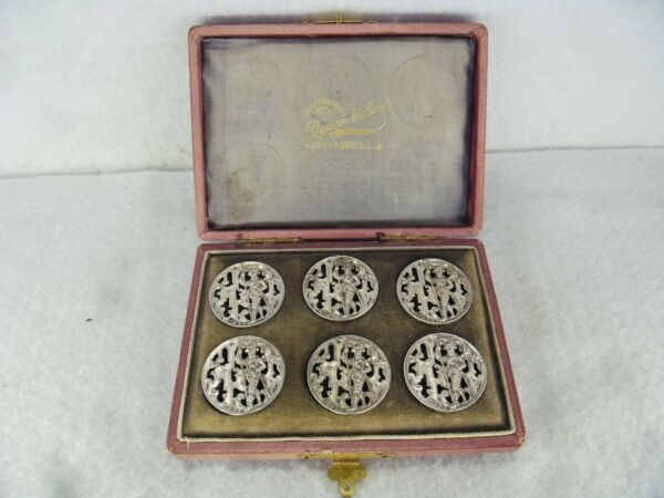 Boxed Set of 6 Solid Silver Military Buttons B'ham 1902