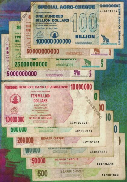 500 - 100 Billion Zimbabwe Dollars Banknote Set of 10 Bearer-Cheque Agro Cheque