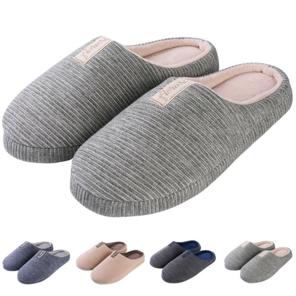 Unisex Cozy Cotton Anti-Slip Memory Foam Slipon House Slippers Flat Indoor Shoes $14.95