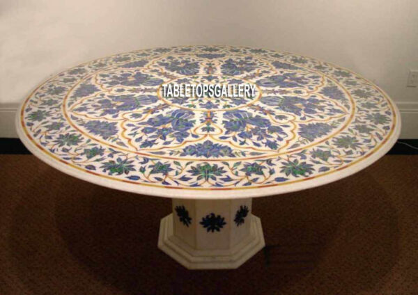 72'' Round Marble Countertops Inlaid Lapis Design Mosaic Table With Stand H3950A