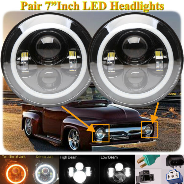 7'' Vintage LED Headlight H4 H13 HiLow Beam DRL For Ford F-100 1969-1979 F-150
