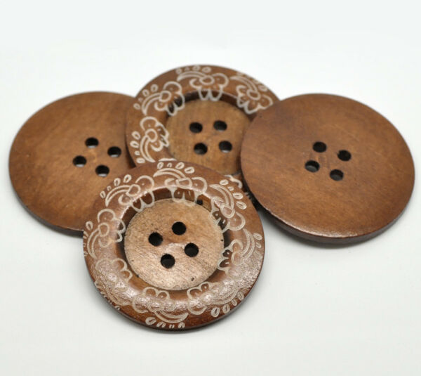 Large Wood Decorative Buttons 4 hole Crafting 6cm 2 3 8quot; inch Wooden Brown