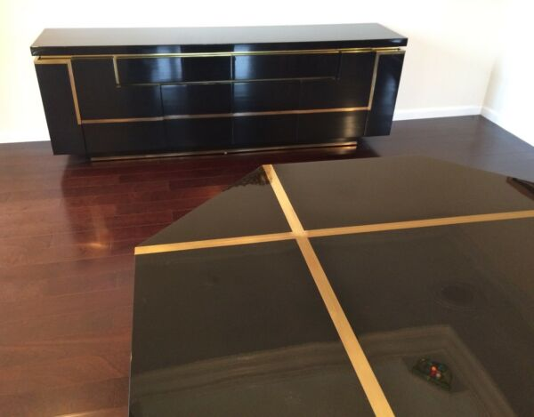 MAHEY LACQUER & BRASS Table Credenza & Italian Chairs MID CENTURY MODERN