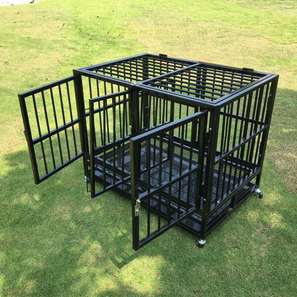 37quot; Heavy Duty Dog Cage Strong Metal Crate Pet Playpen Kennel w Divider amp; Doors $199.99