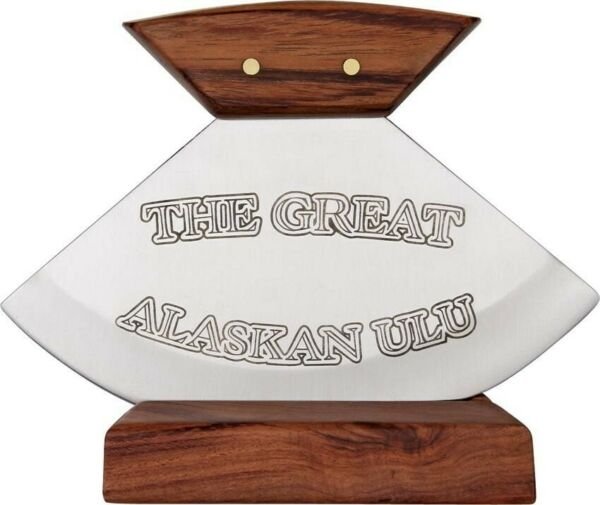 Rough Rider RR851 Brown Wood The Great Alaskan Ulu Fixed Blade Knife Stand