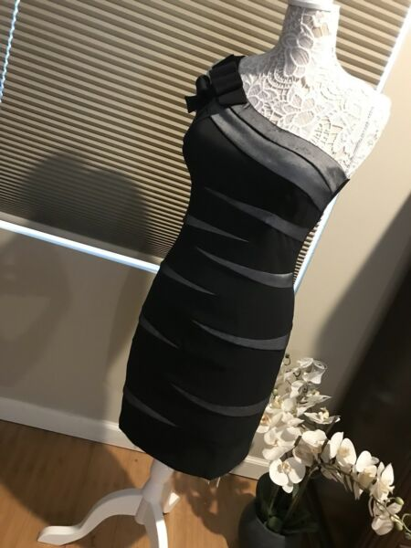 CACHE Prom Cocktail Dress One Shoulder Silver amp; Black Size 12