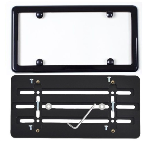 UNIVERSAL LICENSE PLATE TAG HOLDER MOUNT BUMPER BRACKET + BLACK FRAME CAR TRUCK