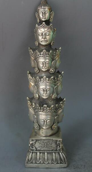 Exquisitely Carved Tibet Silver 11 Kwan-yin Head Antiques Collection Statue