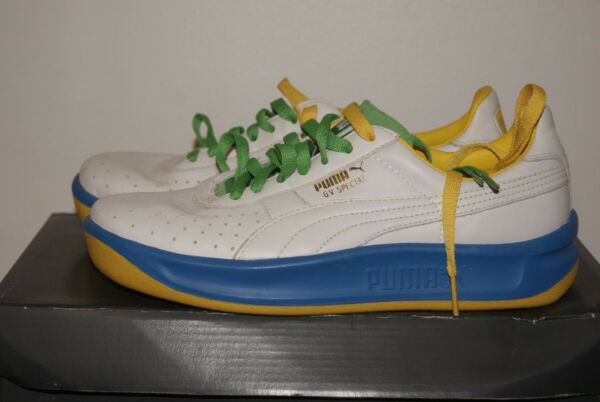 Mens Puma GV Special Blue White Green Yellow Leather Shoes Sz 6 or 7