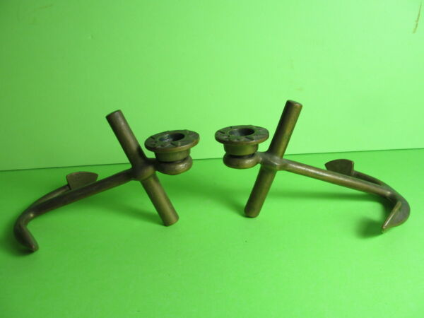 Vintage brass anchor candle holders