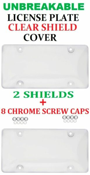 2 UNBREAKABLE CLEAR BUBBLE LICENSE PLATE MOUNT HOLDER FRAME BUMPER SHIELD COVER