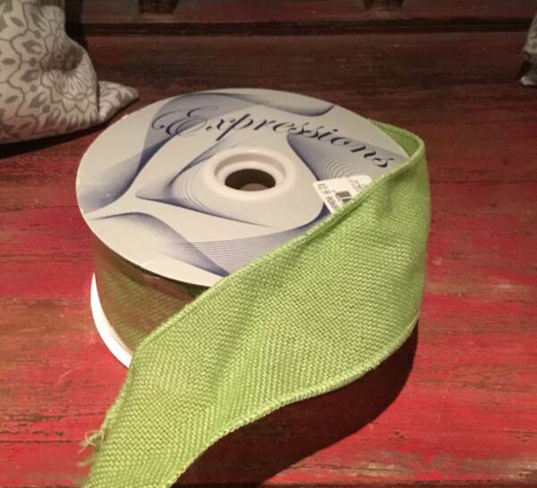 2.5 inch Wired Lime Green Burlap Ribbon 10 yard roll