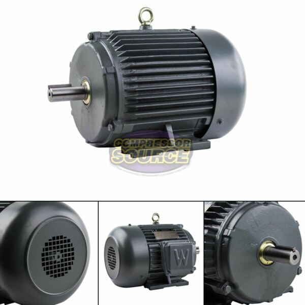 5 HP 3 Phase Electric Motor 1800 RPM 184T Frame TEFC 230 460 Volt Severe Duty $389.95