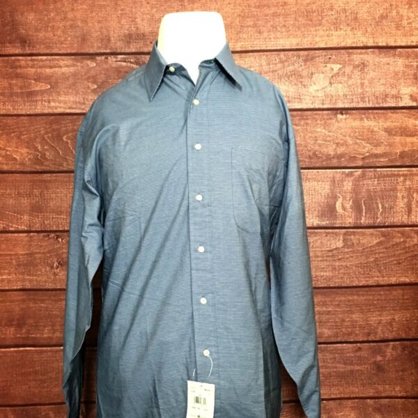 NEW Tommy Hilfiger Mens Shirts L S Blue White Striped Size 15.5 34 35 $28.84
