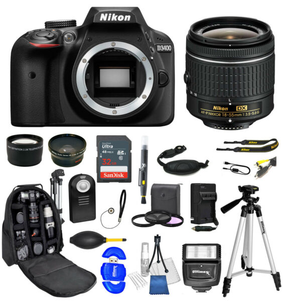 Nikon D3400 DSLR Camera + AF-P 18-55mm  32GB + Backpack Value Bundle