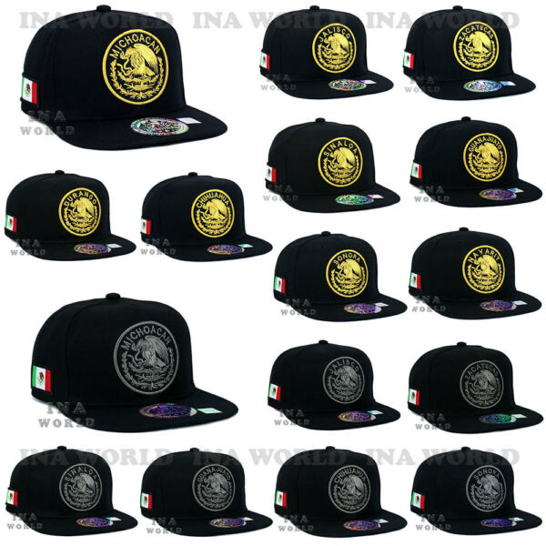 MEXICAN Hat MEXICO Federal Logo State Embroidery Snapback Flat Bill Baseball Cap