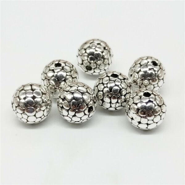 4 of 925 Sterling Silver Cobbled Type Round Ball Bead 10mm for Bracelet Necklace