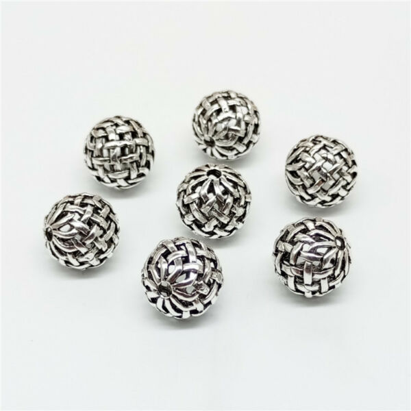 5 of 925 Sterling Silver Celtic Basket Weave Round Ball Beads 10mm for Bracelet
