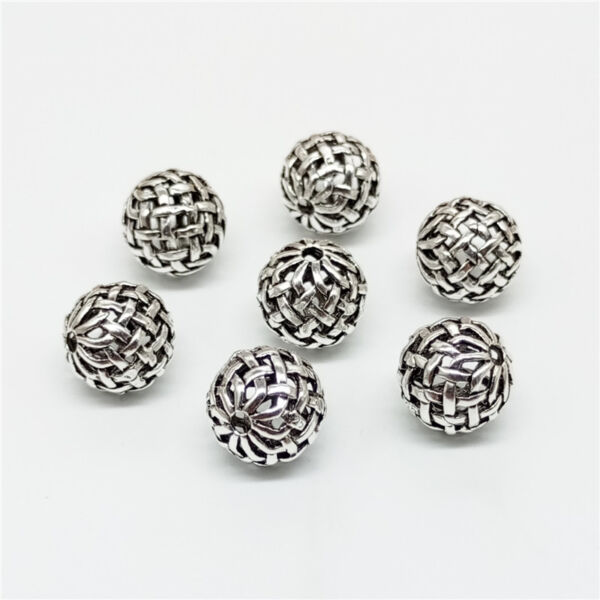 5 of 925 Sterling Silver Bow Knot Basket Weave Round Ball Bead 10mm for Bracelet