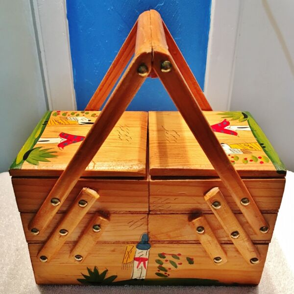Vintage Wooden Handpainted and Handmade Jewelry or Sewing Compartmental Box Kit