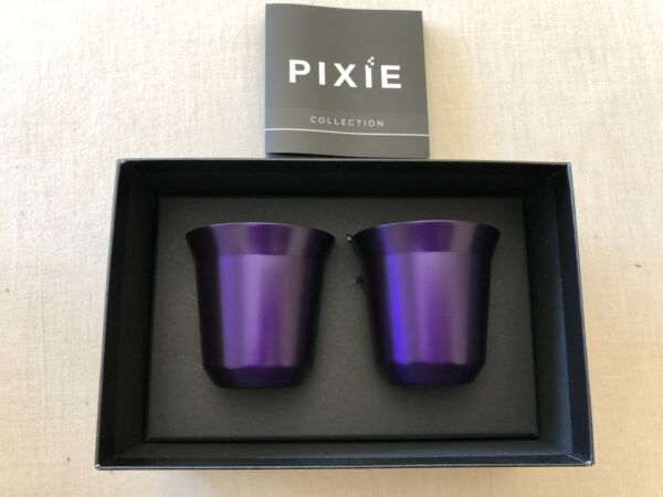 2 Pixie Nespresso Espresso Arpeggio Cups New in Box. Beautiful Gift. Purple.