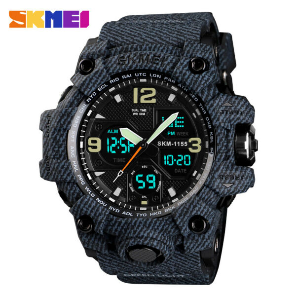 SKMEI Army Military Waterproof Sport Men#x27;s LED Quartz Analog Digital Wrist Watch