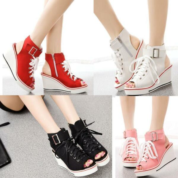 Womens Sneakers Wedge Heels Canvas Platform Sandals Open Toe Shoes Lace Up Sbox1