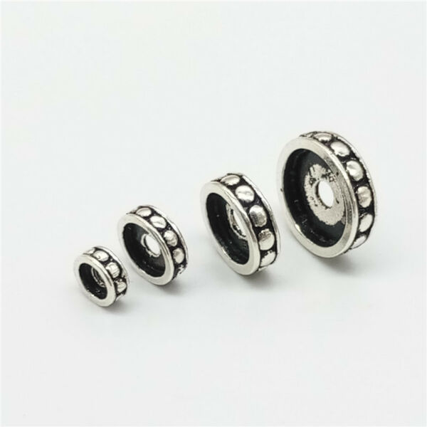 10 of 925 Sterling Silver Donut Tire Spacer Beads 5mm 7mm 9mm 11mm